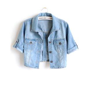 Yüksek Bel Kısa İlkbahar Ceket Kadın Bolero Giyim Sonbahar İnce İnce Denim Kadın Ceket Kot Streetwear Coat Giyim CX200725