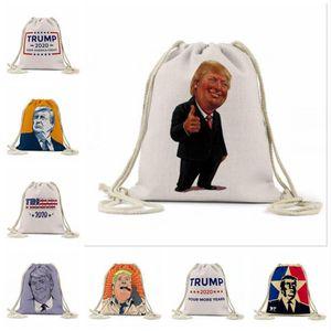 Trump plage Sacs à dos Trump extérieur sac de rangement d'impression numérique Campagne Trump Campagne Drawstring Pouch Sacs 16 Styles LJJA183