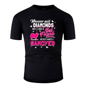 Design Tshirt For Men 100% Cotton Men's Cute Samoyed Diamonds Girlie Dog Owner Gift Tshirts Round Collar Streetwear