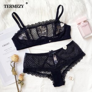 TERMEZY 2019 Sexy Lace Large Cup Bras for Women Push Up Bra set Wrapped Chest Lace Underwear for Females Weave lingerie Y200710
