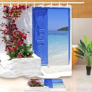 Red Flower Blue Greek Door with a Sea View on Island Shower Curtain With Bathroom Mat Set Waterproof Fabric For Bathtub Decor T200711