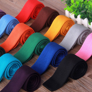 Fashion Knitted Stripe Square Flat End Tie Necktie Bowties Skinny Knit Ties Fashion Fashion Accessories for Women Men dropship