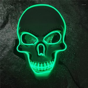 Party Costume Accessories LED Lighting Holloween Holiday Mask Cosplay Skull Mens Womens Masks Hollow Out Pure Color Prom