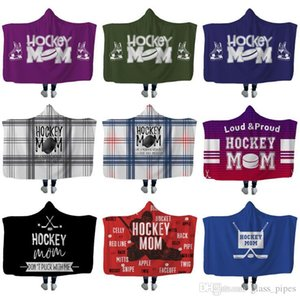 Hockey Hooded blankets Plush Sherpa Blanket Xmas 3D Printed Cape Cloak Fleece Soft Winter Swaddling Bedding Quilt Nap Wraps LXL680A
