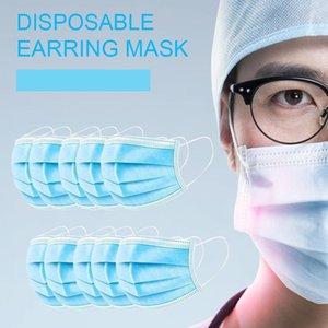 Algodão descartável Filtro e Mask Blue 3-camada de não tecido Rosto máscara protetora Anti PM2.5 Adulto respirável Poeira Facial Navio com 48hrs