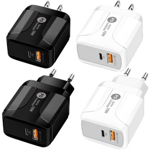 Carregador de parede 18W Quick Charge QC 3.0 PD Tipo c USB Eu US UK plug Para Iphone 7 Phone 8 X 11 Samsung Lg Android