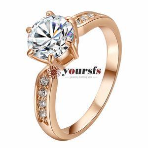 Yoursfs горячая распродажа Бесплатная доставка свадебные 18 к белый позолоченные использование Австрия Кристалл 2CT имитация бриллиантовое обручальное кольцо для невесты R185W1