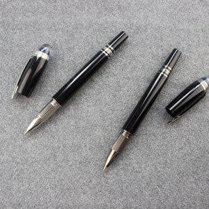 Blue Crystal Cap Black Metal Rollerball Pen Men Handmade Vintage Stationery Products School Office Supplies Roller Pens Set Gift