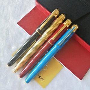 Croton Calidad clásico azul liso barril de oro clip con número de serie escritura suave rodillo bola de lujo de la pluma + recargas regalo + regalo de la felpa de la bolsa