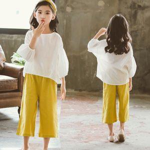 Children Girls Clothing Sets Summer Cotton New Kids Teenage Casual T Shirt +Wide Leg Pants Girl Clothes Set 2pcs Kids Suit CA051