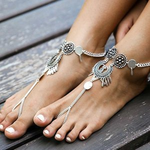 1pc Bohemian Antique Silver Color Hollow Flower Ankle Bracelet 2020 Women Beach Barefoot Sandals Foot Jewelry Boho Chic Anklets T200714
