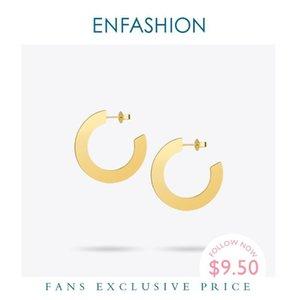 Enfashion Shiny Big Hoop Earrings Gold color Earings Stainless Steel Circle Earrings For Women Jewelry oorbellen EEF1018