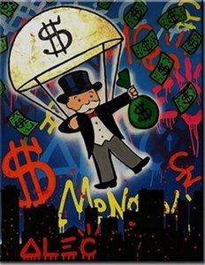 Alec Monopoly Banksy Parachute Home Decor Handpainted &HD Print Oil Painting On Canvas Wall Art Canvas Pictures 200731