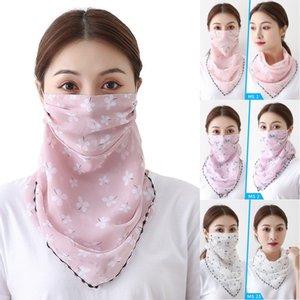 Женщина Зонт Маски Мода Шелковый шифон Handkerchief Открытый ветрозащитный Половина лица пыленепроницаемом Зонт Маски 45 Patterns