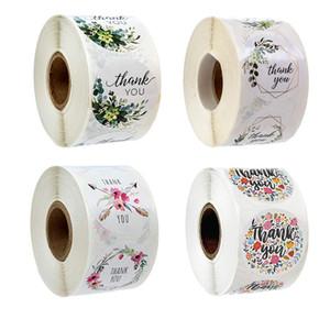500PCS / roll Gift Box Adesivos Obrigado dos doces da flor Bolo Embalagem festa de aniversário para etiquetas Box Decorações do casamento