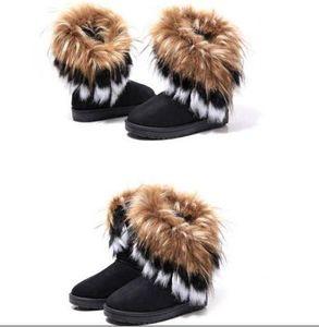 2020 Autumn Winter Warm high long snow boots artificial fox rabbit fur leather tassel women's shoes dorp shipping U99