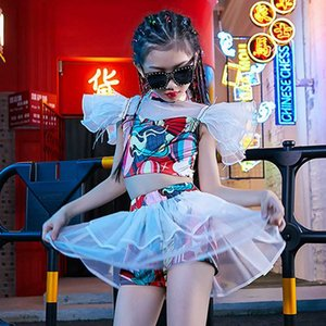 Kids Jazz Performance Dance Costume Crop Top Gauze Skirt Pant Street Wear Catwalk Stage Outfit Hip Hop Girls Clothes Summer 4314