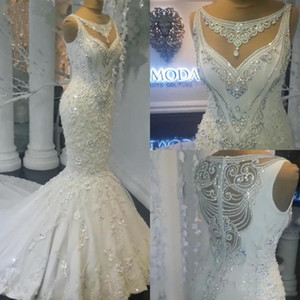 Luxury Rhinestone Crystals Wedding Dresses 3D Flowers Lace Appliqued Mermaid Wedding Bridal Gowns Long Train Country Bride Dress