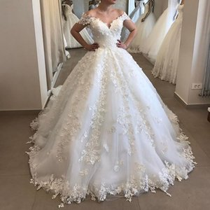 Elegant Off The Shoulder Puffy Ball Gown Wedding Dresses off shoulder Appliques Tulle V Neck Lace Wedding Gown backless Robe De Mariee