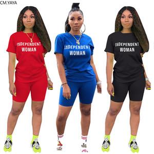 Mulheres Set Esporte Indenpance Mulheres Letra Dois Peça Set Tracksuit T-shirt Calções Jogador Sweatpant Terno Deixa Conjunto de Correspondência
