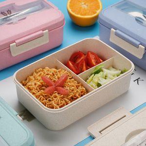 Microwave Lunch Box Wheat Straw Dinnerware Food Storage Container Children Kids School Office Portable Bento Box T200709