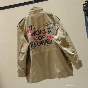 Fashion Women Jacket 2019 Spring Autumn New Long Sleeve Embroidery Windbreaker Women Basic Coat Wild Loose Ladies Outerwear Tops