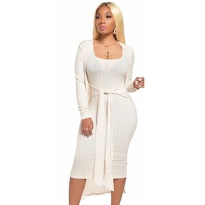 Summer Fashion Two Pieces Set Women Long Sleeve Thin Cardigan And Belt Bodycon Sundress Spring Sexy Knitted Coat Leisure Outfits