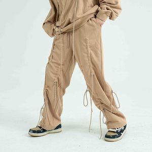 High Street Drawstring Повседневная Sweatpants Мужчины и Женщины бегуны Wide Leg Негабаритные Брюки Hip Hop Багги Тренировочные брюки