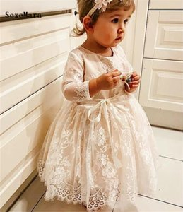 First Birthday Dresses for Girls Child Pageant Party Gowns Cute Long Sleeves Beautiful Big Bow Flower Gril Dresses