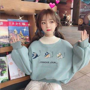 Poisson animal mignon Imprimer Hoodies Femmes match All Turtleneck overs Femmes coréenne Kawaii Trendy élégant Vêtements Sweat-shirt FMEE #