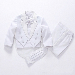 2019 fashion white black baby boys suit kids blazers boy suit for weddings prom formal spring autumn wedding dress boy 5pcs 0dhC#