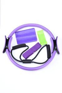 US Shipping 5 Pcs Set Yoga Pilates Ring Magic Wrap Slimming Body Building Training Heavy Duty PP+NBR Material Yoga Circle LWT