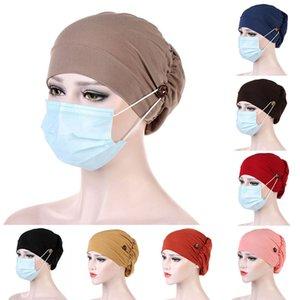 Yeni Pamuk Hicap Düğmeler İslam Underscarf Bonnet Hat Bayanlar Kafa Müslüman Hicap Turbante Mujer Bwkf ile Müslüman Turban Hat Caps