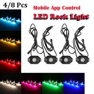 4 8 Pcs LM-RGB LED Rock Light Multicolor Decorative Atmosphere Hub Lamp Bluetooth Control For Offroad Truck UTV Wheel Light