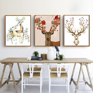 DIY Oil Painting Animal Decorated Picture Art Paintings Hand Painted Deer Oil Painting Sofa Wall Decoration No Frame 16*20 inch BC BH1495
