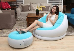 Beflockung aufblasbare faule Einzelbettsofa Nap Lounge Moderne Einfach Zimmer Stuhl mit Pedal, Fußbank Bean Bag Chair Affordable Pa VtTj #