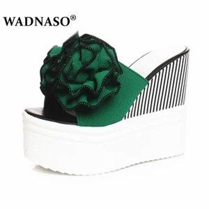 WADNASO été chaud floral chaussures coins femme plate-forme de décoration florale de couleur de bonbons de Bohême flip flops plage Eu 35-39