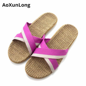 AoXunLong Hot Linen Woven Home Slippers Women Country House Ladies Slippers Shoes Slides Women Slipper Chinelo Feminino Chausson