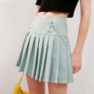 Black Solid High Waist Casual Women Preppy Mini Skirts 2020 Summer Green Pure Chain Korean Ladies Daily Bottom