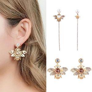 Insect Pattern Lady Rhinestone Drill Earrings for Party Concert Women Pearl Bee Short Long Dangles Fashion Rassel Earrings