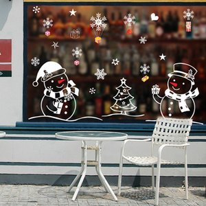 New Year Creative White Snowman Christmas New Year Living Room Bedroom Glass Window Background Decorative Wall Sticker