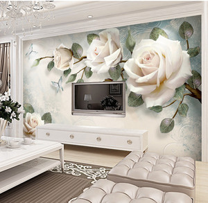 Wholesale New minimalist 3d wall cloth background wall hand-painted flowers European large murals elegant papel de parede wall cloth custom