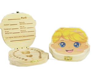 ENGLISH SPANISH Cartoon Wood Tooth Box for Kids Save Milk Teeth Wooden Organizer Storage Boxes Boys Girls Teeth Box Saver Keepsakes A122605