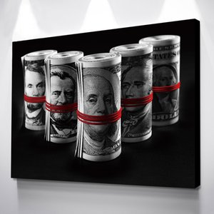 Wall Artwork Home Decoration 1 Piece Dollars Money Canvas Oil Paintings HD Prints Poster Modular Pictures Frame For Living Room