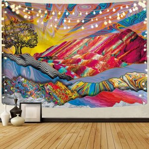 Mountain Tapestry Forest Tree Tapestries Sunset Tapestry Nature Landscape Tapestry Wall Hanging for Room Home Decoration Sun and Moon