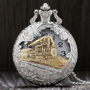 Vintage Train Charme sculpté creux Steampunk montre peut être ouvert de poche hommes SteamPunk collier pendentif Quartz ps0579