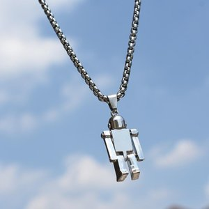 Necklace Men and Women Fashion Hip-hop Hiphop Robot Pendant Student Personality Fashion Net Red Disco Accessories