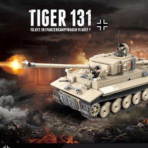 Tiger German Military 131 Building Blocks réservoir legoingly briques armée WW2 Soldat d'armes Kits Jouets éducatifs pour les garçons 1018Pcs 66