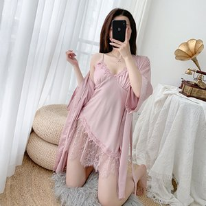 Women Nighty&Robe Set Pink Lace 2PCS Sleepwear Female Kimono Gown Sexy Nightdress Loose Bathrobe Gown Casual Home Clothes