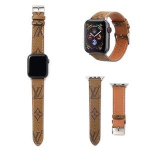 Designer-Uhrenarmband für iWatch Uhr PU-Leder 38mm 40mm 42mm 44mm Verstellbare Designer-Uhrenarmband für Apple